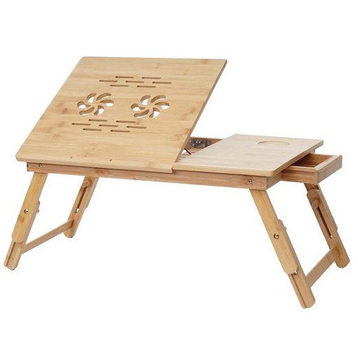MCW Laptoptisch »MCW-B81«, Tisch höhenverstellbar, Tischplatte verstellbar, Mit Schublade, Mit blumenförmigen Lüftungslöcher