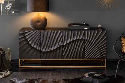 riess-ambiente Sideboard »SCORPION 177cm schwarz / gold«, Massivholz · Anrichte · Metall · Kommode · 3D Schnitzereien · Wohnzimmer
