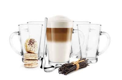 Sendez Latte-Macchiato-Glas »6 Latte Macchiato Gläser 300 ml mit Henkel und 6 Edelstahl-Löffel GRATIS«, Glas