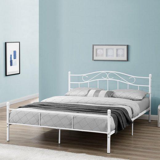 en.casa Metallbett, »Damur« Bett mit geschwungenem Kopfteil in diversen Größen und Farben