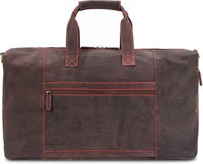 LEABAGS Reisetasche »Sydney«, Reisetasche Handgepäcktasche Sporttasche aus echtem Leder im Vintage Look, (LxBxH): ca. 64 x 25 x 34 cm - NeonRed