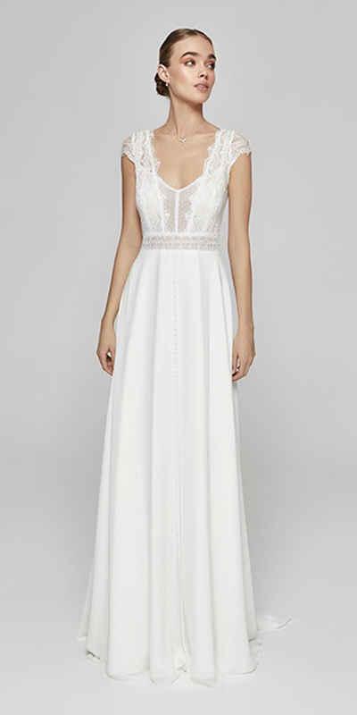 Bride Now! Maxikleid »Kleid aus Chiffon in A - Linie mit V - Ausschnitt« comfortable to wear, boho style dress, bodice with floral motifs