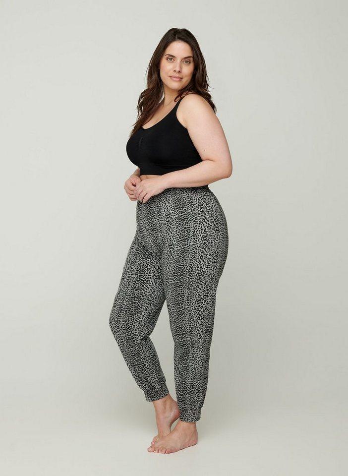 zizzi -  Stoffhose Große Größen Damen Baumwollhose mit Print und Gummizug