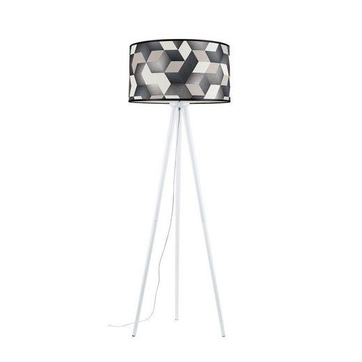 BRITOP LIGHTING Stehlampe »ESPACIO«, Dreibein aus Buchenholz, Schirme aus laminierter Tapete, passende LM E27 / exklusive, Made in Europe