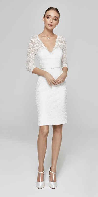 Bride Now! Midikleid »Kurzes Brautkleid mit 3/4 Arm und V-Ausschnitt« comfortable to wear, lace with floral motifs