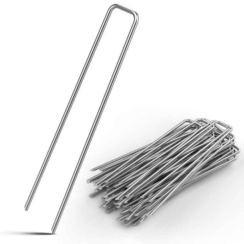 Gardebruk Zelthering, (50-St), Gardebruk 50x Erdanker verzinkter Stahl 15 x 2,5 cm Ø 2,7 mm Unkrautvlies Gartenvlies Zeltanker Heringe Bodenanker Zaun