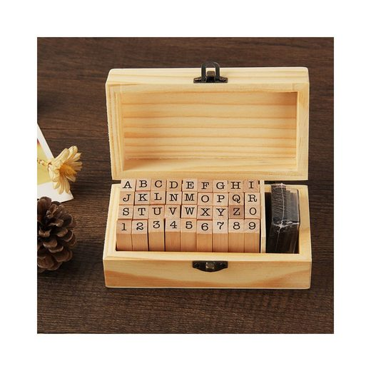 kueatily Stempel »36-teiliges Alphabet-Stempel-Set, Stempel-Set, Brief-Stempel-Set, Alphabet Holz, Alphabet Buchstabenstempel, Buchstabe Nummernsymbol«