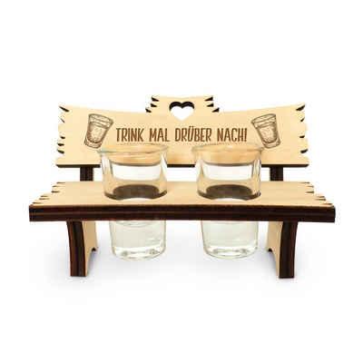 Kreative Feder Schnapsglas »Trink mal drüber nach«, Holz, Schnapsbank, Schnapsglas, wahlweise mit 2, 4 oder 6 Schnapsgläsern, Geschenk, Hochzeit, Geburtstag