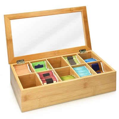 Navaris Teebox, Bambus, (1-tlg), Bambus Aufbewahrung für Tee - 10 Fächer Box für Teebeutel - klappbarer Deckel und Sichtfenster - Teekiste Aufbewahrungskasten