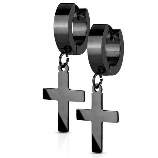 BUNGSA Creolen-Set »Creolen mit Anhänger Kreuz aus Edelstahl Damen« (inkl. Schmuckbeutel aus Organza), Ohrschmuck Ohrringe Frauen Geschenk Liebe