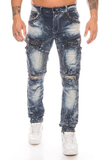 Cipo & Baxx Slim-fit-Jeans »Herren Cargo Jeans Hose mit Strasssteinen« Jeanshose mit Zierreißverschlüssen und stylischer Batik Waschung