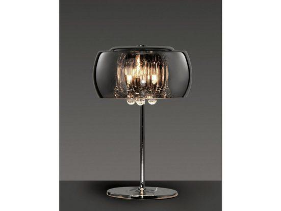 meineWunschleuchte LED Tischleuchte, mehrflammig, Lampenschirm Rauch-Glas, Transparentes Kristall-Dekor als Behang für reizvolle Lichtspiele in der Lampe, mit Schnur-Schalter, Stecker