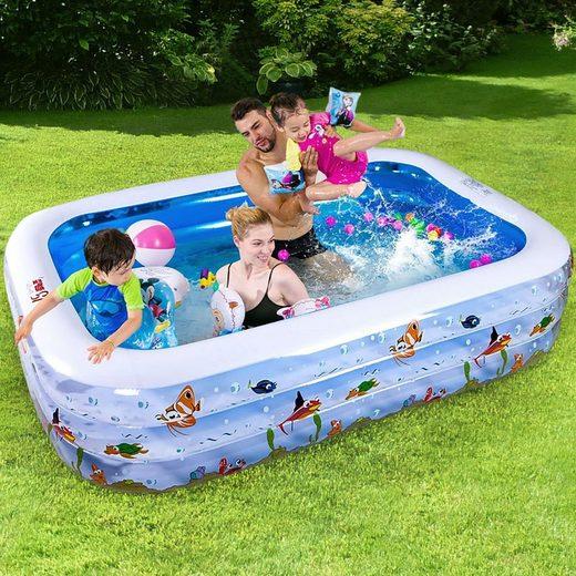 RAMROXX Rechteckpool »Kinder Pool NEMO Swimmingpool Planschbecken gepolstert Rechteckig 180x140x60cm«