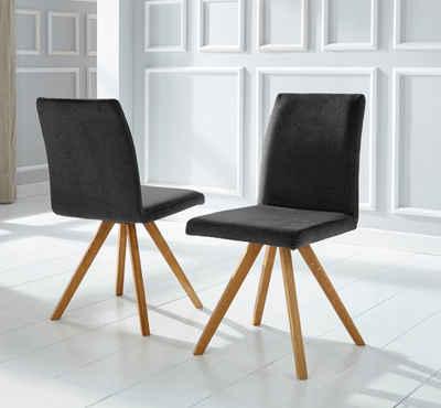 Home affaire Schalenstuhl »Rio« (Set, 2 Stück), Bezug in Kunstleder oder Strukturstoff und das Gestell ist Eiche Massivholz geölt