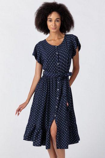 PEKIVESSA Sommerkleid »Boho-Kleid Damen lang gepunktet aus Viskose« durchgeknöpft mit Bindegürtel