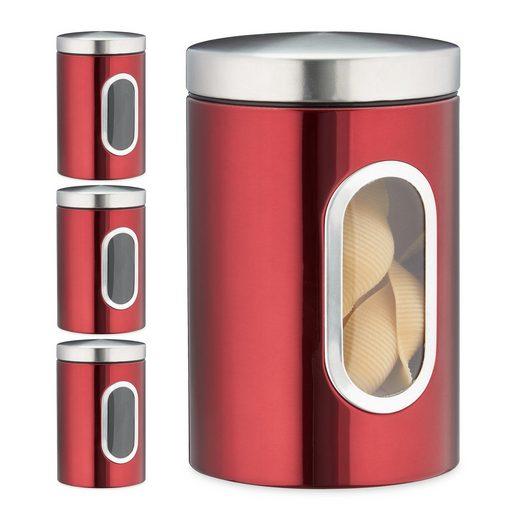 relaxdays Vorratsdose »4x Vorratsdose mit Sichtfenster rot«, Metall
