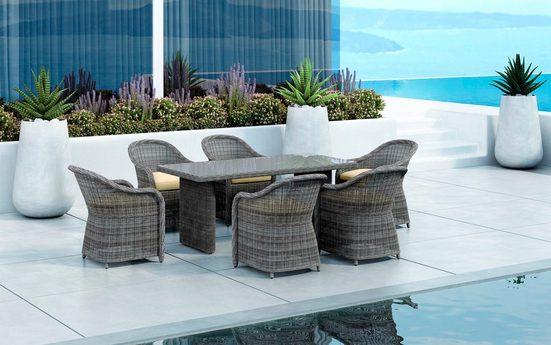 Baidani Gartenmöbelset »Spring«, (7-tlg), 6 Stühle, Tisch 90x180 cm, inkl. Auflage