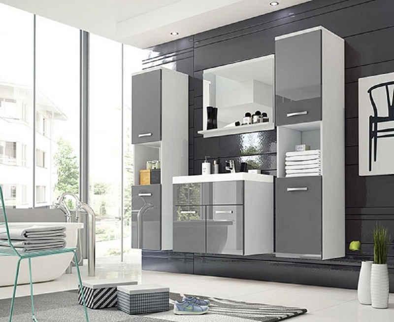 Feldmann-Wohnen Badmöbel-Set »MONTREAL«, (Set, 5-St., 2 Hängeschränke + 1 Spiegel + 1 Waschbeckenunterschrank + 1 Waschbecken), Farbe wählbar