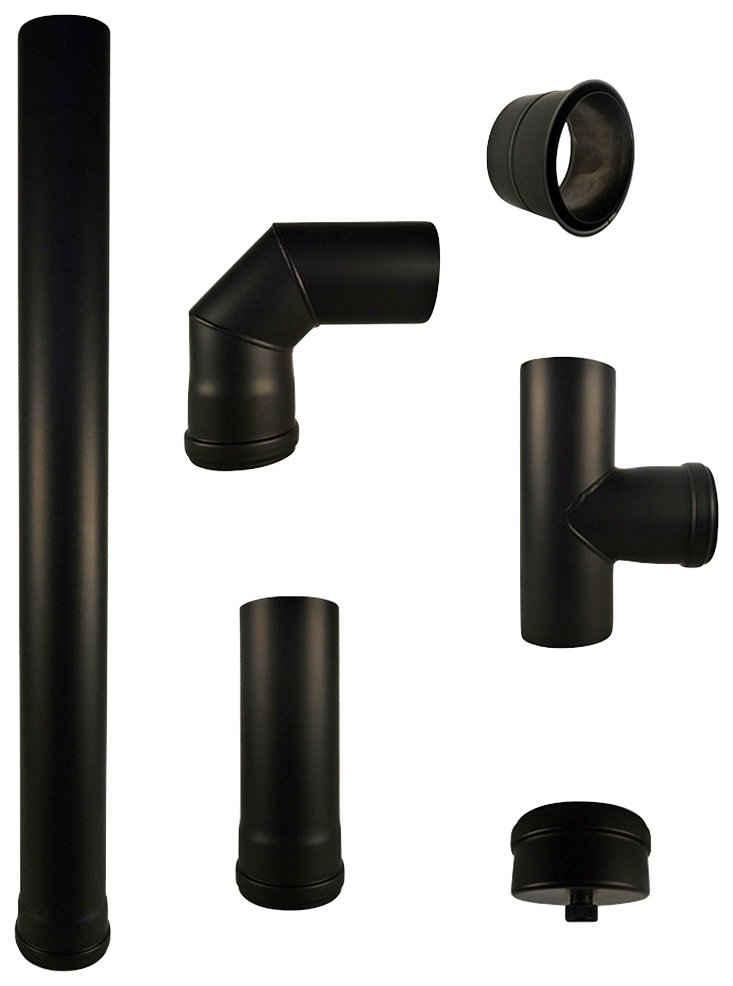 Heathus Ofenrohr, (Set, 6-tlg), 80 mm, für Pelletöfen, 100 cm, schwarz