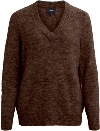 Object V-Ausschnitt-Pullover »OBJNETE« mit femininem V-Ausschnitt