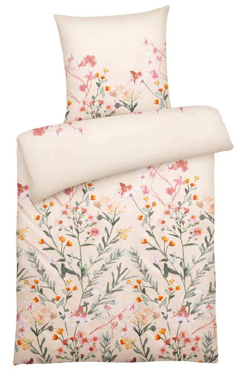 Bettwäsche »Moderne Perkal-Bettwäsche mit Blumen-Muster in vielen Farben & Größen«, Carpe Sonno, Hochwertige Perkal Bettgarnitur 135x200 cm aus 100% Baumwolle, klassisches Blumen Muster, besonders strapazierfähig und weich, stilvoller Bettbezug für das ganze Jahr