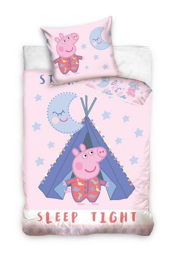 Kinderbettwäsche, Peppa Pig, schlaf gut mit Peppa Wutz
