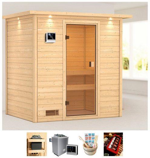 KARIBU Sauna »Wangerooge 2«, 223x159x191 cm, 9 kW Ofen mit ext. Steuerung, Dachkranz