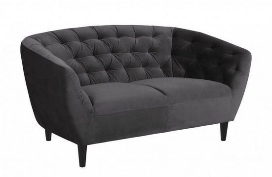 ebuy24 Sofa »Rian 2 Personen Sofa dunkelgrau mit schwarzen Bein«