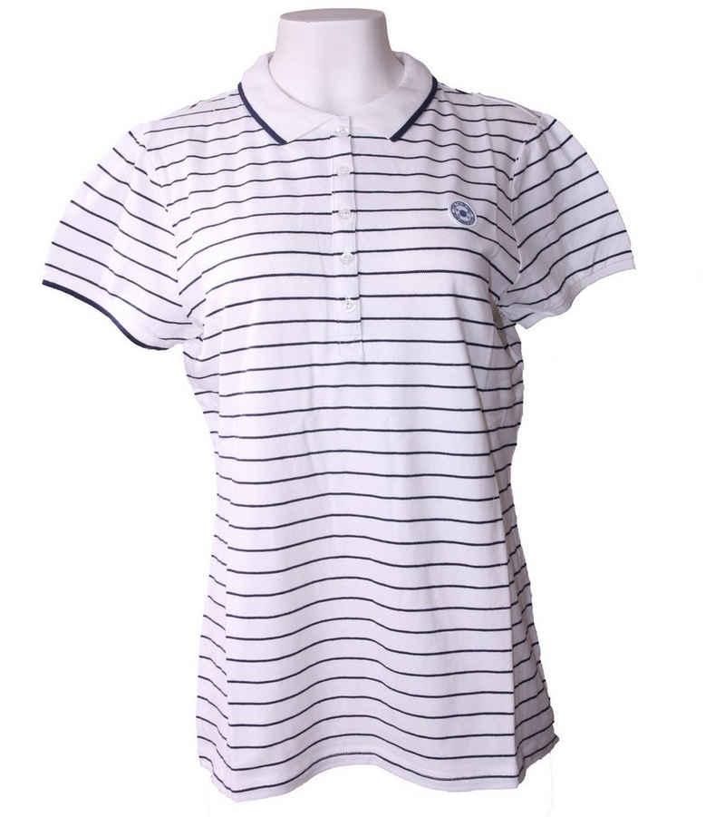 TOM TAILOR Poloshirt »TOM TAILOR Polo Team Freizeit-Shirt gestreiftes Damen Polo-Shirt Freizeit-Shirt mit Logo auf der Brust Blau/Weiß«