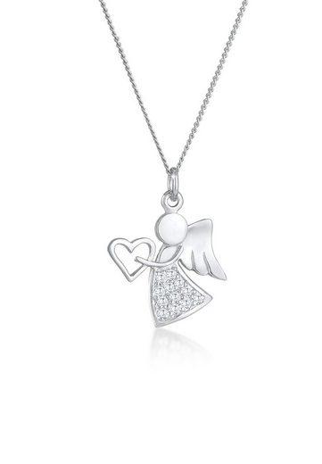 Nenalina Kette mit Anhänger »Engel Herz Zirkonia Talisman Symbol 925 Silber«, Engel