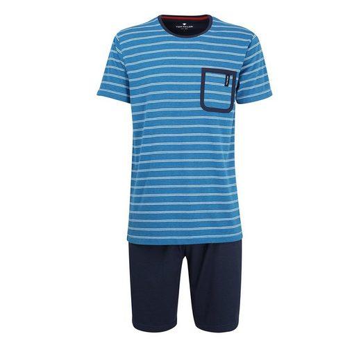 TOM TAILOR Pyjama »Herren Schlafanzug Set - kurz, Rundhals, Ringel,«