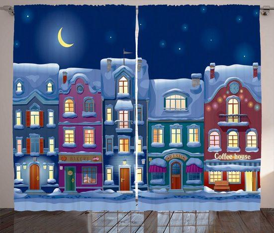 Gardine »Schlafzimmer Kräuselband Vorhang mit Schlaufen und Haken«, Abakuhaus, Stadt Benachbarte Häuser Winter Night