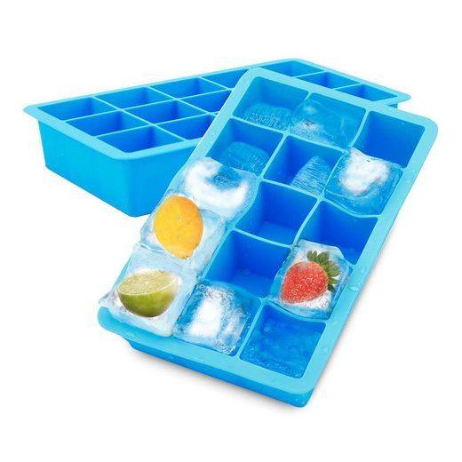 Intirilife Eiswürfelform, (1-tlg), 1x Eiswürfelform/Silikonform in BLAU - Eiswürfel Silikonform mit 15 Fächern à 3 x 3 x 3 cm für große Eiswürfel