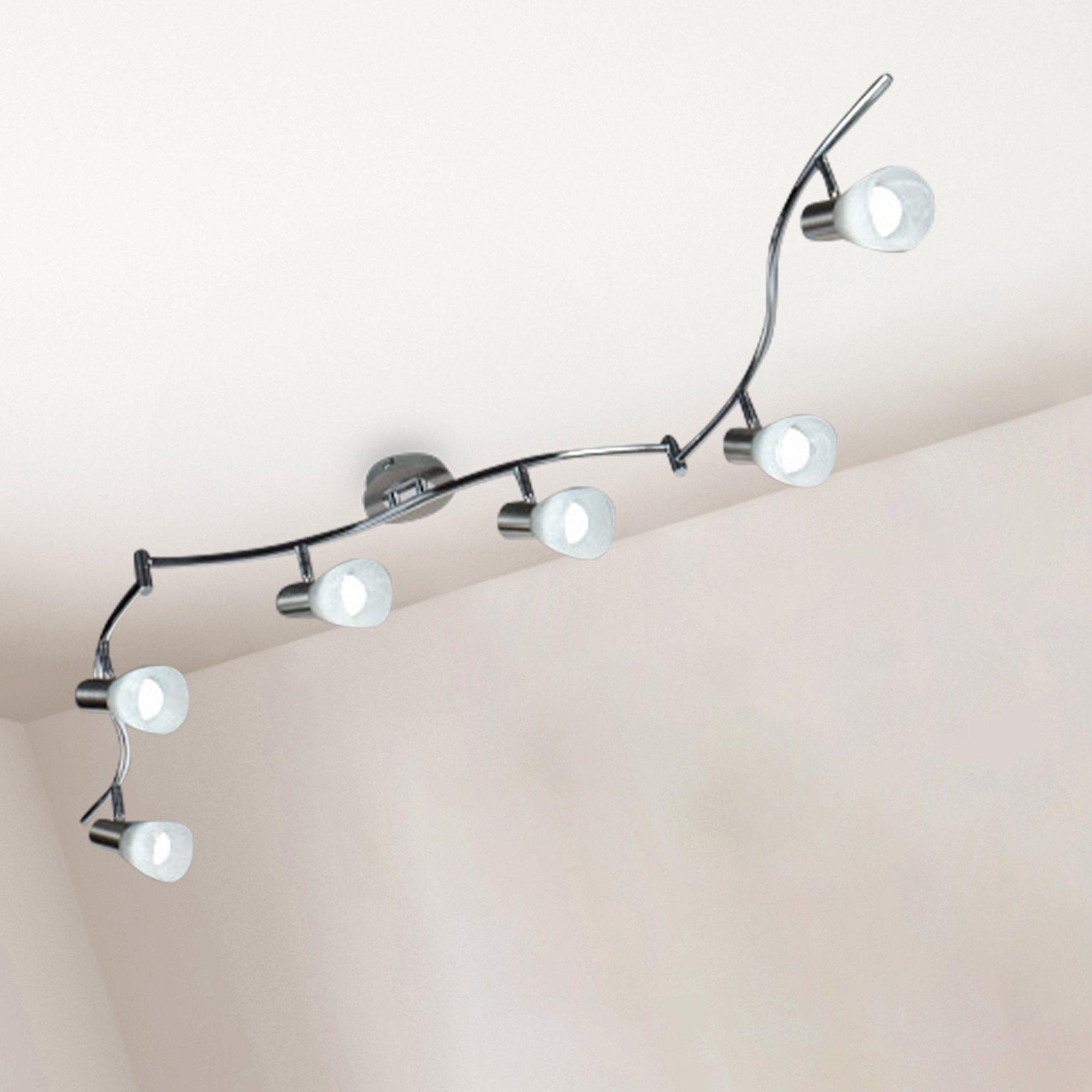 Deckenlampe Wohnraum LED Deckenstrahler schwenkbar 6flammig Lampenschirme Glas