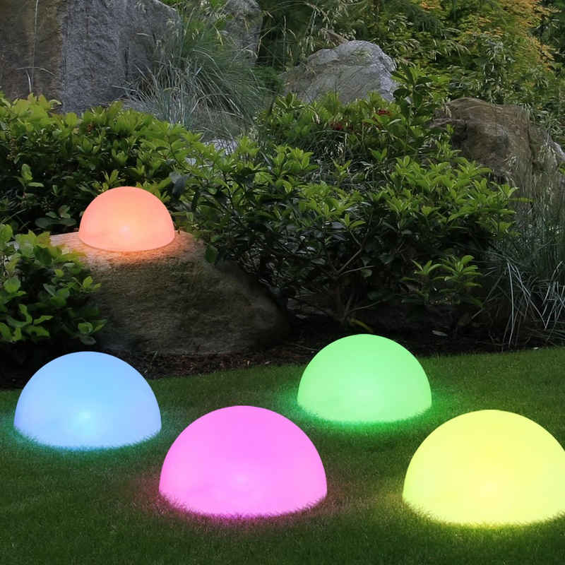 etc-shop Dekolicht, 5x RGB LED Solar Steck Lampen Halb Kugel Garten Weg Deko Beleuchtung Farbwechsel Außen Leuchten weiß