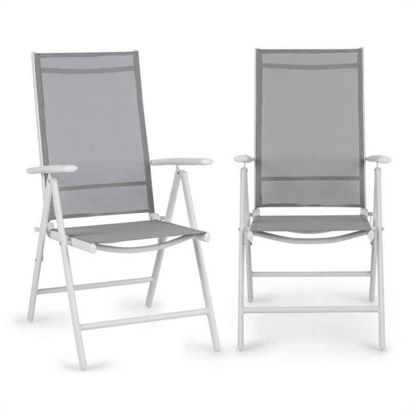 blumfeldt Gartenstuhl »Almeria Klappstuhl 2er-Set 59,5x107x68 cm ComfortMesh Aluminium weiß/grau«
