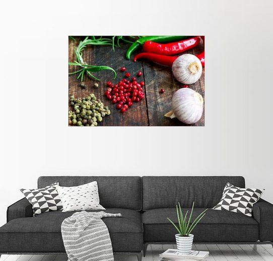 Posterlounge Wandbild, Mix von Gewürzen, Kräutern und Gemüse