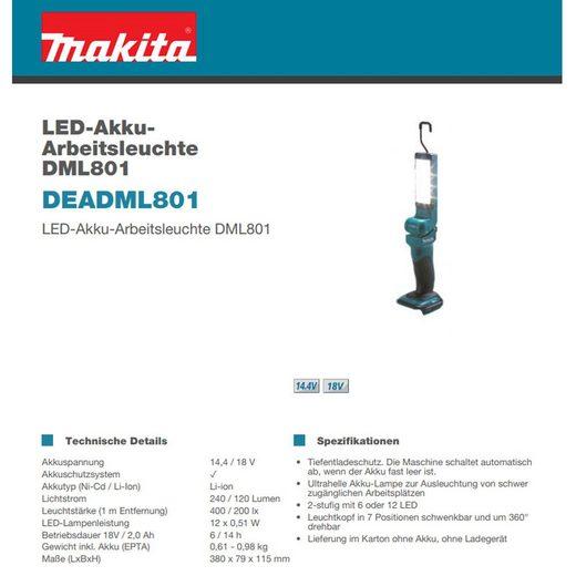 Makita LED Arbeitsleuchte »DEADML801 Makita LED-Akku-Arbeitsleuchte DML801 je«