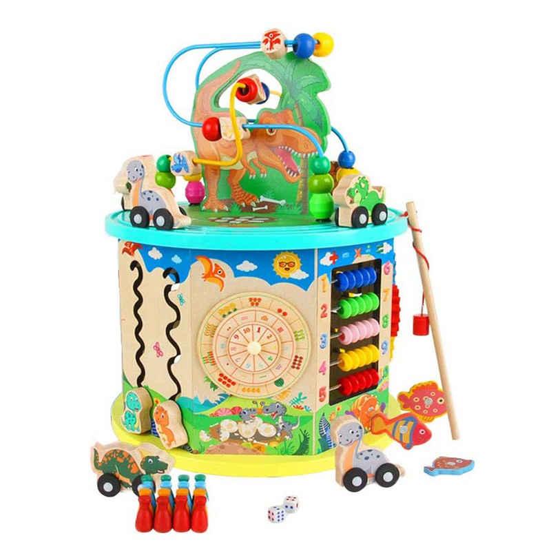 Wenta Motorikschleife »Motorikschleife Spielzeug Abakus Perlen Dinosaurier Puzzlespiel Angelspiel für Kinder ab 1 Jahre Lernspielzeug 11 in 1 Multifunktion Buntes Holzspielzeug«