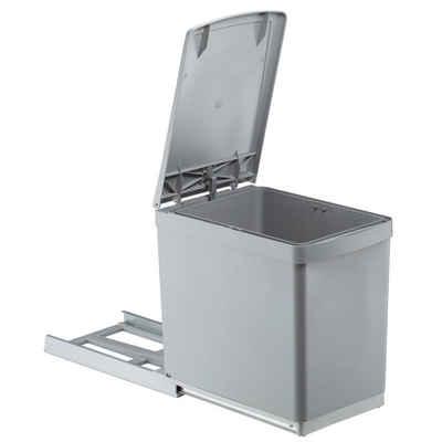 WESCO Einbaumülleimer »Einbau-Abfallsammler BASIC 30/1 16 L alugrau,«, Vollauszug, mit patentiertem automatischen Deckelheber