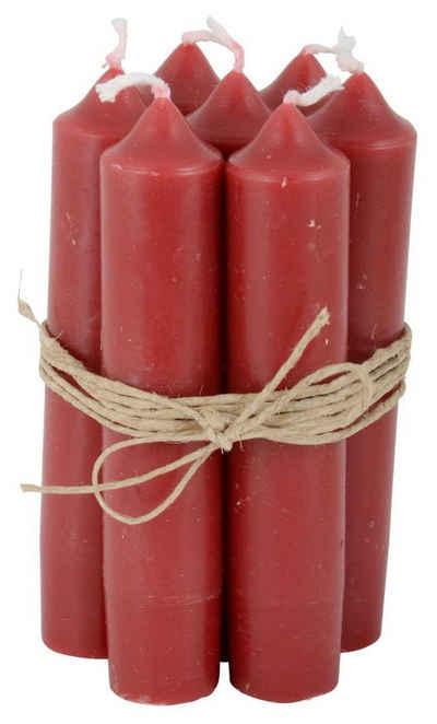 """Ib Laursen Kerzenhalter, 8er Set, tolle im Vintage-Stil klassische Stabkerzen im Landhauslook. Farbe """" ROT """". Schmal geschnitten, 2,2 cm Durchmesser, Höhe 11 cm, Hoher Neidfaktor."""