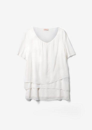 TRIANGLE Kurzarmbluse »Fabric Mix-Bluse mit Layering« Layering