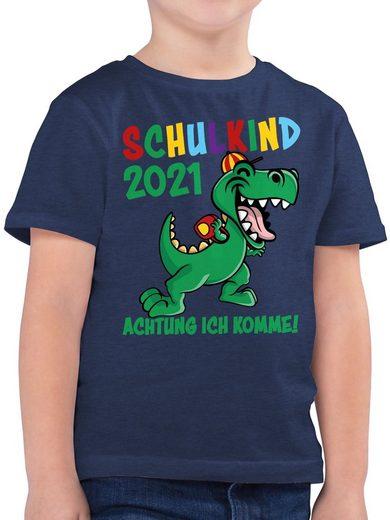 Shirtracer T-Shirt »Schulkind 2021 Achtung ich komme! - bunt - Schulkind Einschulung und Schulanfang - Jungen Kinder T-Shirt« Einschulungs Geschenke Schultüte Füllung Schulranzen Schulrucksack Schule Deko