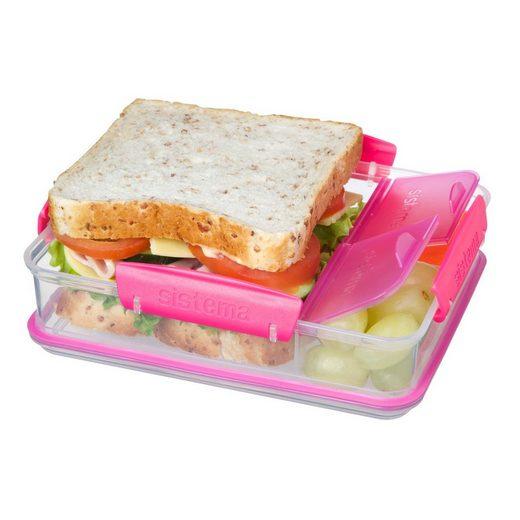 sistema Aufbewahrungsbox »Brotdose mit Snackfach, transparent-pink«, Kunststoff Lebensmittelsicher