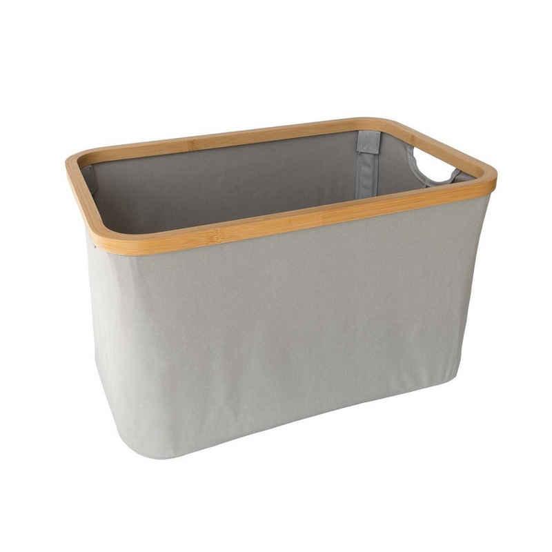 SOSmart24 Wäschekorb »SOSmart24 SO SMART Faltbarer Wäschekorb aus Stoff - Grau - 35 L Volumen - Rahmen aus Bambus - Klappbarer Wäschesammler zusammenklappbar Wäschetonne Wäschesack Wäschetruhe faltbar« (1 Stück)