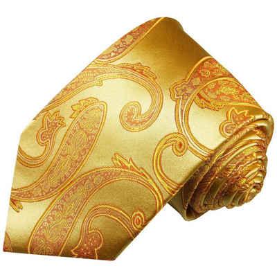 Paul Malone Krawatte »Elegante Seidenkrawatte Herren Schlips modern paisley brokat 100% Seide« Breit (8cm), gold 517