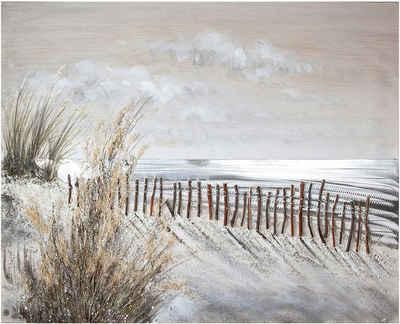 GILDE Leinwandbild »Gemälde Dünen-Zauber«, Landschaft, Strand (1 Stück), handbemaltes Bild, 100x80 cm, Motiv Strandlandschaft, maritim, Wohnzimmer