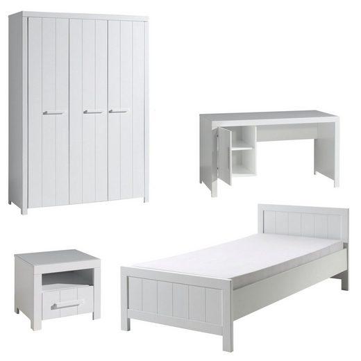 Kindermöbel 24 Jugendzimmer-Set »Jugendzimmer Akira Vipack Bett+Nachtkon.+Kleiderschr.+Schreibt.«