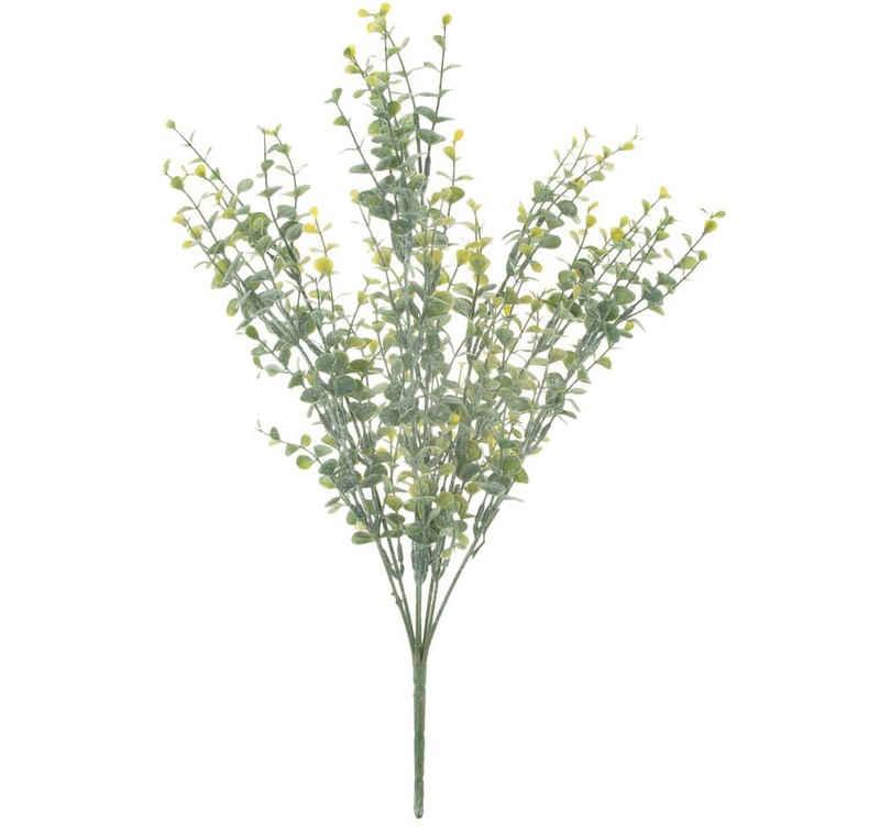 Kunstblume »Deko Eukalyptus Busch Blätter grün & weiß gepudert 43 cm« Eukalyptus, matches21 HOME & HOBBY, Höhe 43 cm