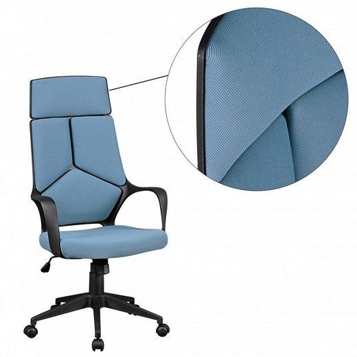 Amstyle Chefsessel »SPM1.331« Bürostuhl TECHLINE Stoffbezug Blau Schreibtischstuhl Design Chefsessel Drehstuhl mit Wippmechanik & Armlehne
